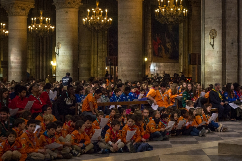 Mass for Scouts, Notre Dame Cathedral, Paris, France, December 2016