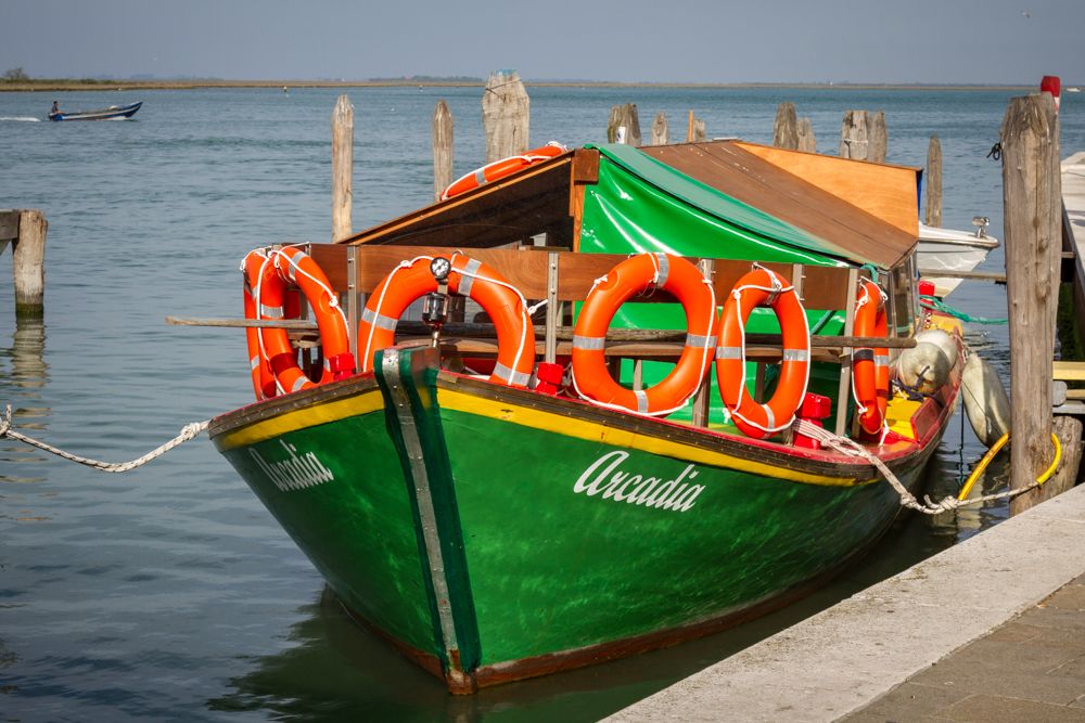 Screaming green boat, Burano, Italy