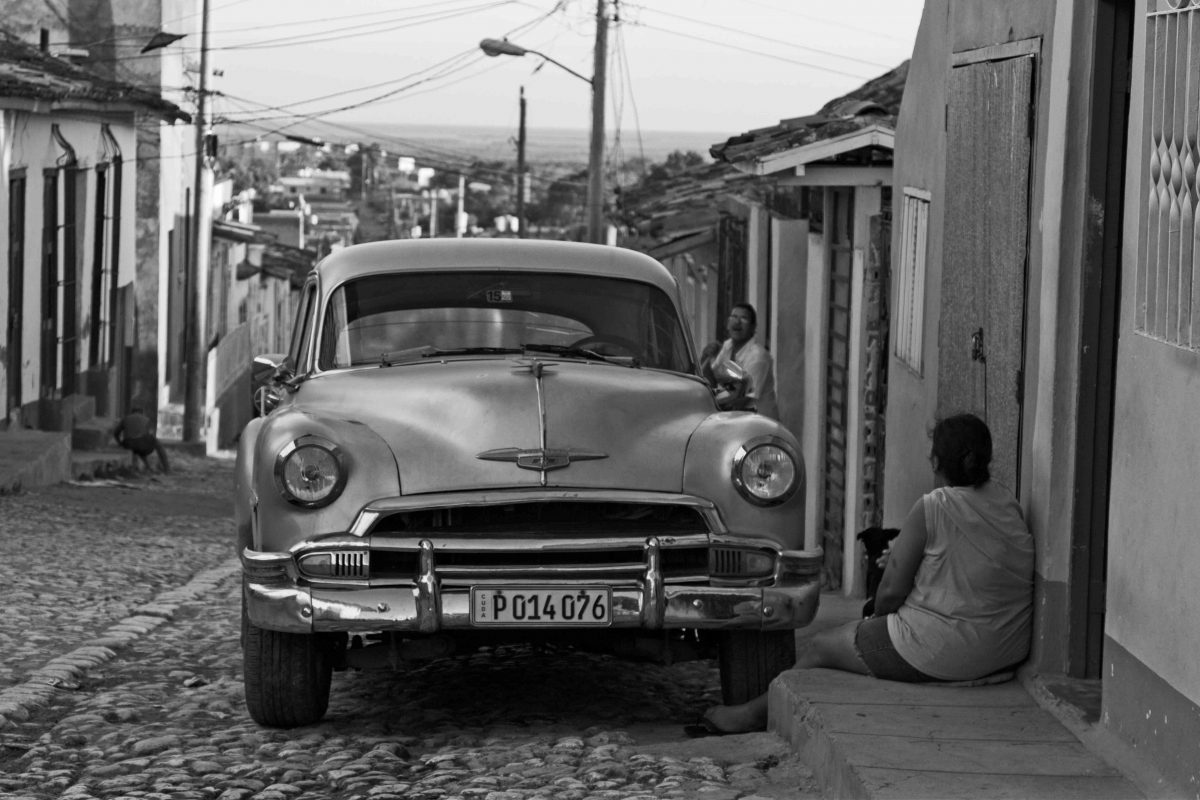 Classic Car at Sunset, Trinidad, Cuba, Black and White
