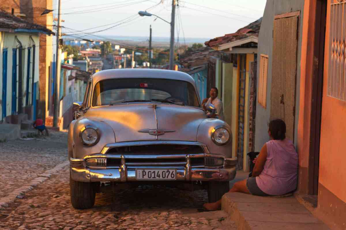 Classic Car at Sunset, Trinidad, Cuba