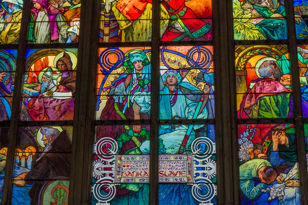 Stained glass window in Cathedral by Alphonse Mucha, Prague, Czech Republic
