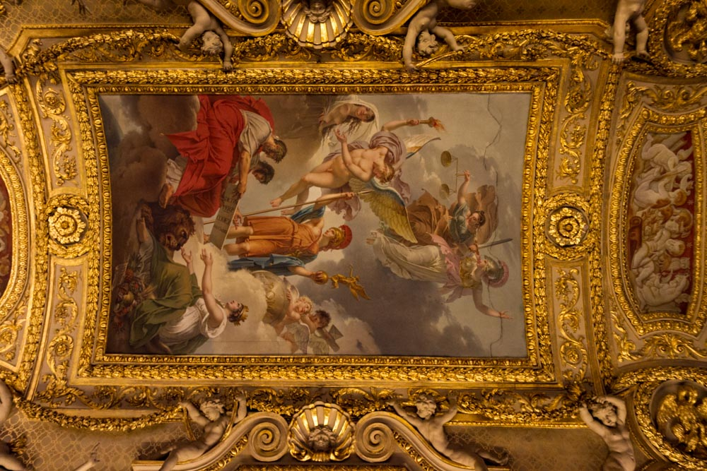 Ceiling painting, ancient sculpture gallery, Denon Wing, Louvre, Paris, France