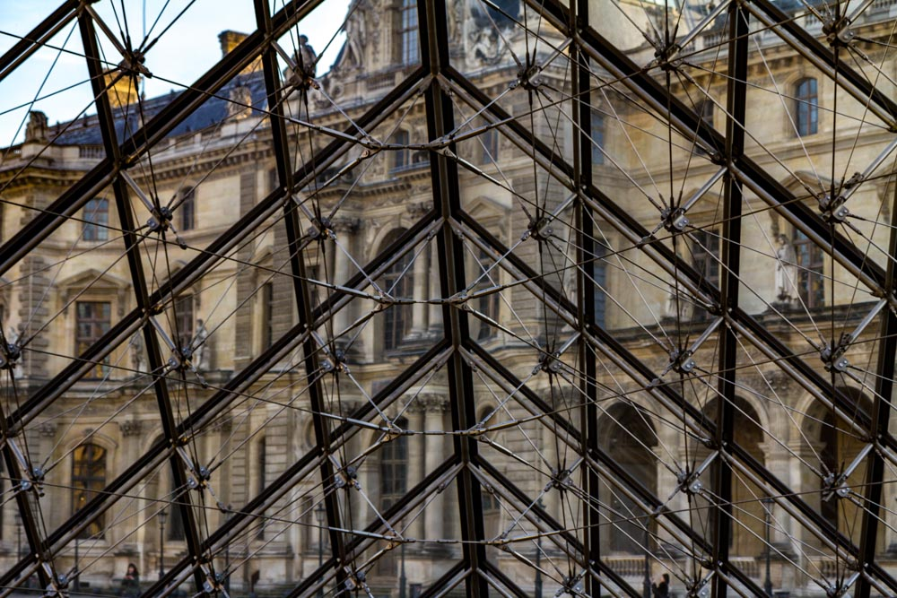 Internal structure, I.M. Pei's Pyramid, Louvre, Paris, France