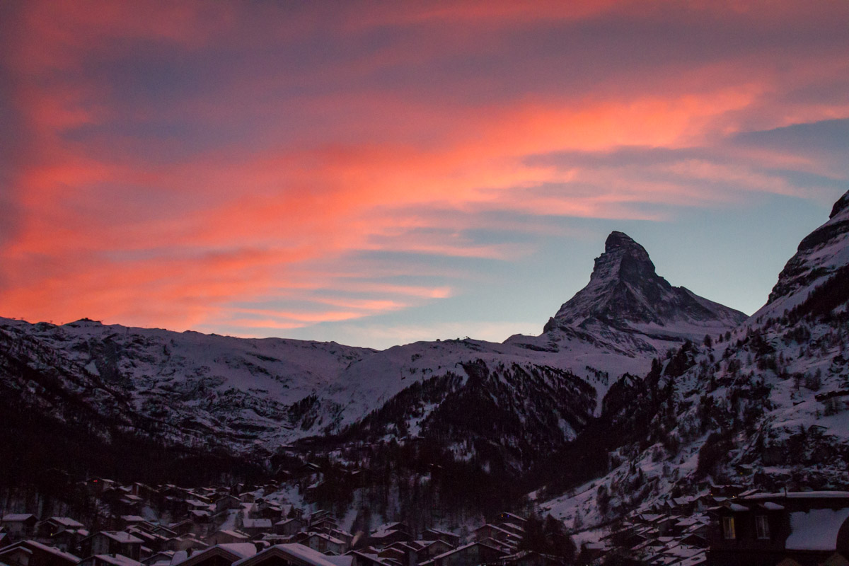 Sunset over the Matterhorn, Zermatt, Switzerland