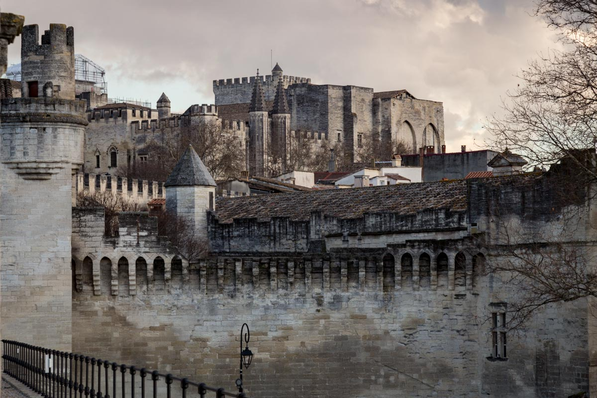 Crenelated walls of Avignon, France