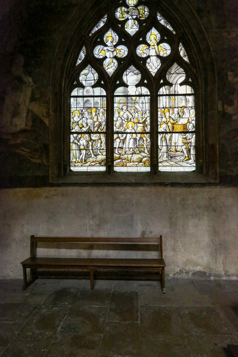 Chapel bench, Beaune Cathedral, Beaune, France